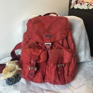 Prada back pack in fresh red color